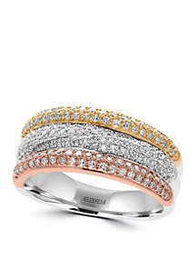 Effy® 5/8 ct. t.w. Diamond Band Ring in 14k Rose Gold, White Gold and Yellow Gold