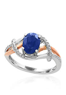 Oval Sapphire & Diamond Ring in 14K White Gold