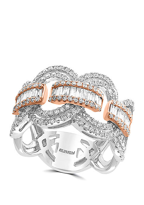 1.09 ct. t.w. Diamond Band in 14k White and Rose Gold