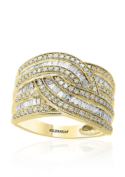 Effy® 14k Yellow Gold Baguette & Round Diamond