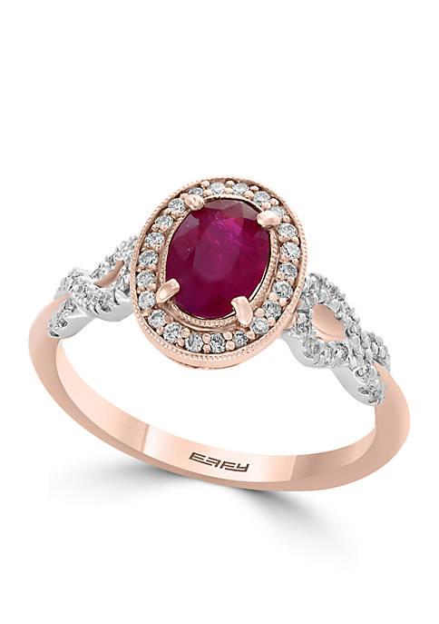 Effy® 14K Gold Diamond Natural Ruby Ring