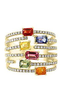 Effy® 5/8 ct. t.w. Diamond, 1.75 ct. t.w. Multi Sapphire, Natural Ceylon Sapphire, Green Sapphire, Orange Sapphire, Pink Sapphire, Yellow Sapphire Ring in 14k Yellow Gold