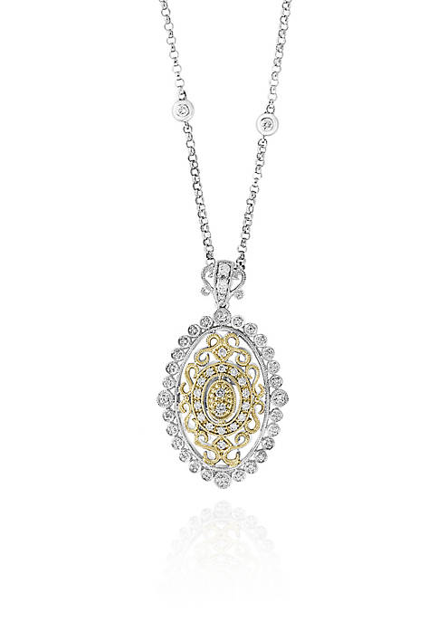 0.34 ct. t.w. Diamond Two-Tone Pendant in 14k Yellow and White Gold
