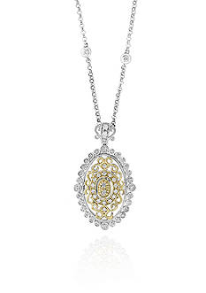 Effy® 0.34 ct. t.w. Diamond Two-Tone Pendant in 14k Yellow and White Gold