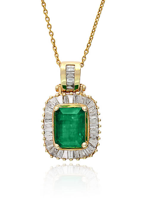 Effy® Emerald and Diamond Pendant Necklace in 14K