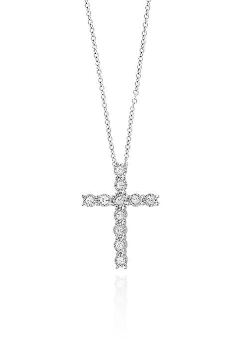 0.24-ct. t.w. Diamond Cross Pendant in Sterling Silver