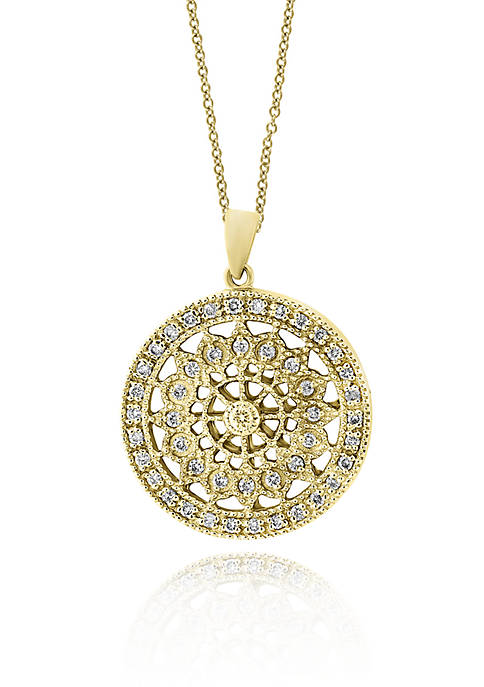 Effy® Diamond Filigree Wheel Pendant Necklace in 14K