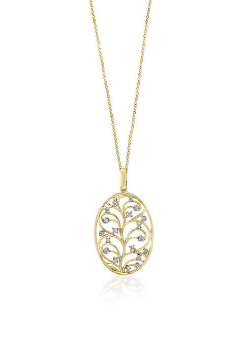 Effy® 14K Yellow Gold Diamond Vine Motif Pendant