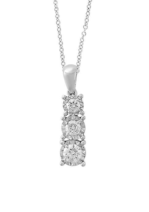 Effy® 14K Illusion Set 3 Stone Diamond Pendant