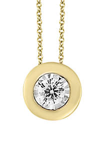 1/5 ct. t.w. Diamond Bezel Illusion Pendant Necklace in 14K Yellow Gold