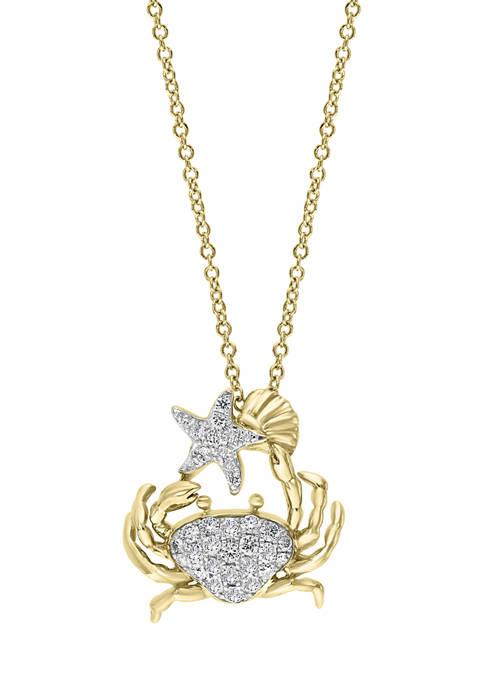 Effy® 1/3 ct. t.w. Diamond Crab Pendant Necklace