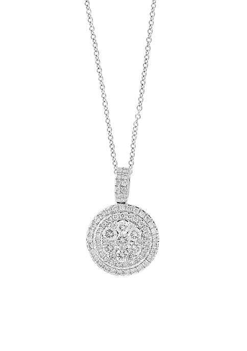 Effy® 14K White Gold Diamond Cluster Pendant Necklace