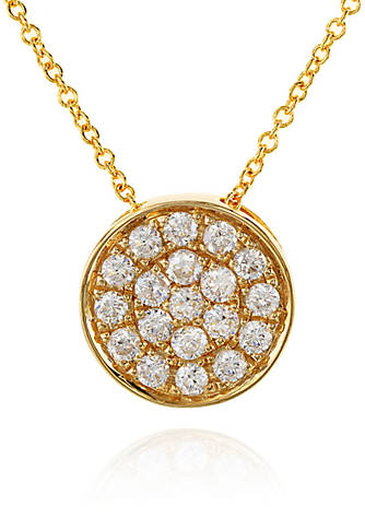 Effy 025 ct tw diamond round pendant necklace in 14k yellow tw diamond round pendant necklace in 14k yellow gold mozeypictures Gallery