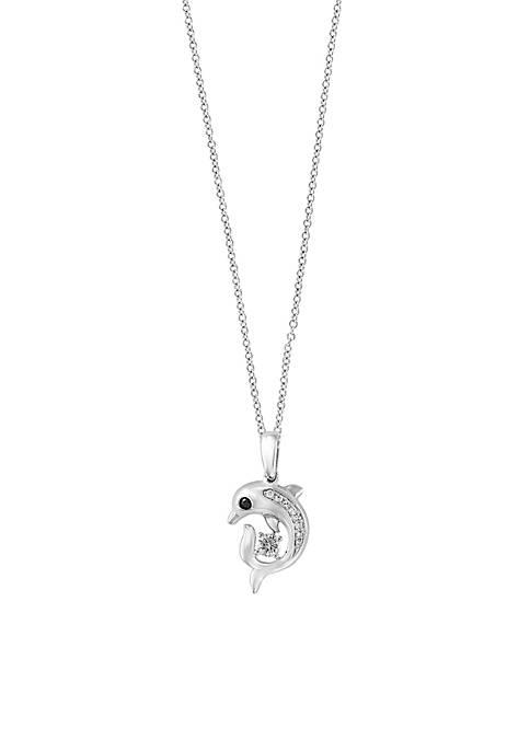 Effy® Sterling Silver Diamond Dolphin Pendant Necklace