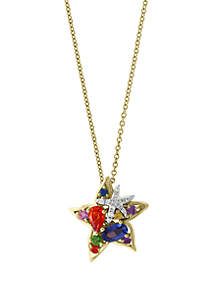 Effy® 0.05 ct. t.w. Diamonds, 3/4 ct. t.w. Multi Sapphire, Natural Ceylon Sapphire, Green Sapphire, Orange Sapphire, Pink Sapphire, Purple Sapphire, Yellow Sapphire Pendant Necklace in 14k White and Yellow Gold