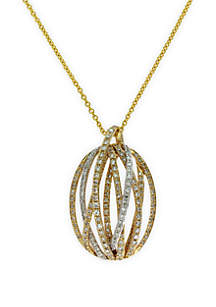 Effy® 5/8 ct. t.w. Diamond Pendant Necklace in 14k White and Yellow Gold