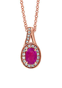 14K Rose Gold Diamond Mozambique Ruby Pendant Necklace