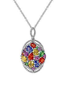 14k White Gold Diamond, Ceylon Sapphire, Orange Sapphire, Pink Sapphire, Purple Sapphire, Yellow Sapphire and Tsavorite Pendant Necklace