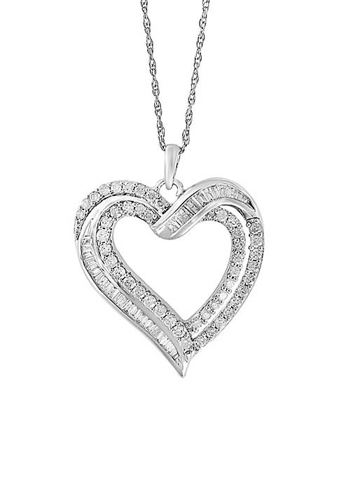 Sterling Silver Round Diamond Heart Pendant Necklace