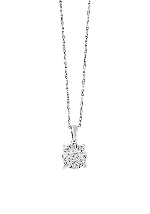 Effy® Sterling Silver Diamond Illusion Set Pendant Necklace