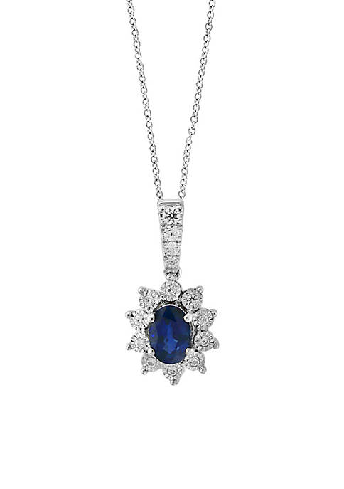 Effy® 14K White Gold Diamond Sapphire Pendant Necklace