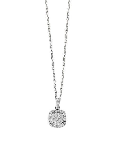 Effy® Sterling Silver Diamond Square Illusion Pendant Necklace