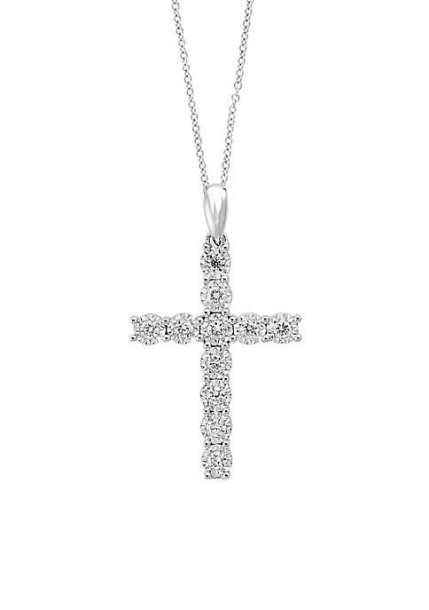 Effy® Sterling Silver Miracle Set Diamond Cross Necklace
