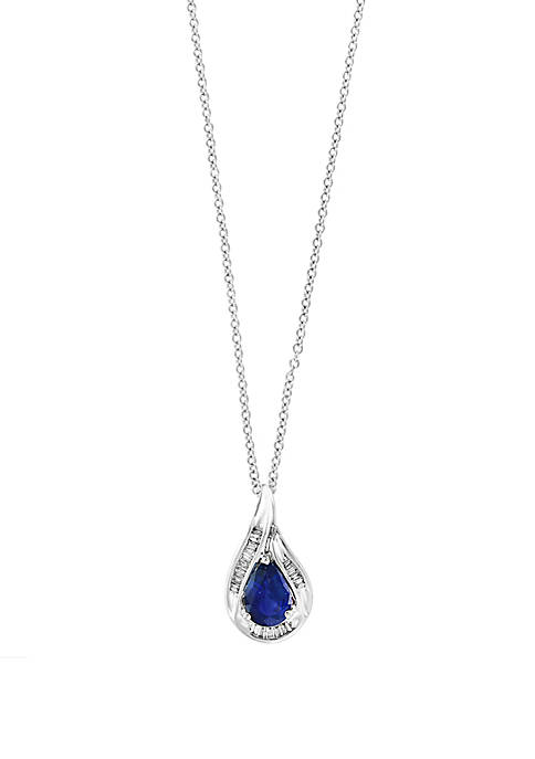 8/10 ct. t.w. Sapphire with Diamond Teardrop Pendant Necklace in 14k White Gold