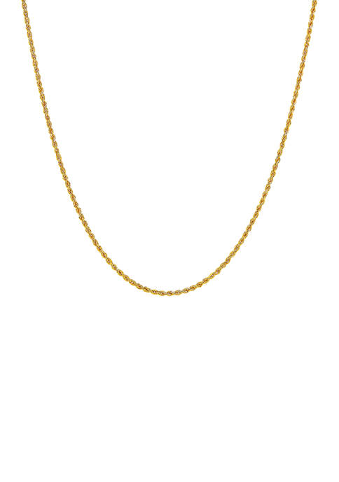14K Yellow Gold Solid Glitter Chain