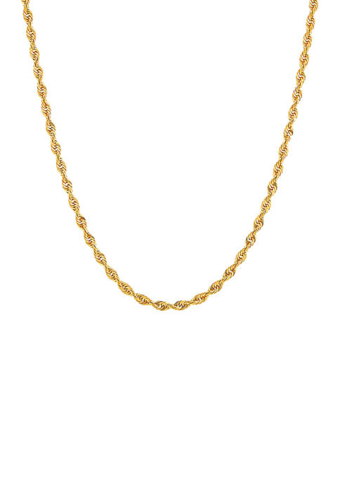 Solid Glitter Necklace in 14K Yellow Gold