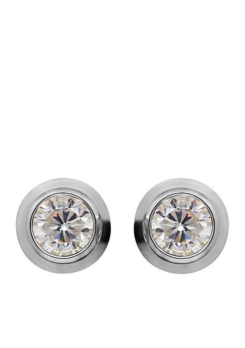 Created White Sapphire Bezel Earrings