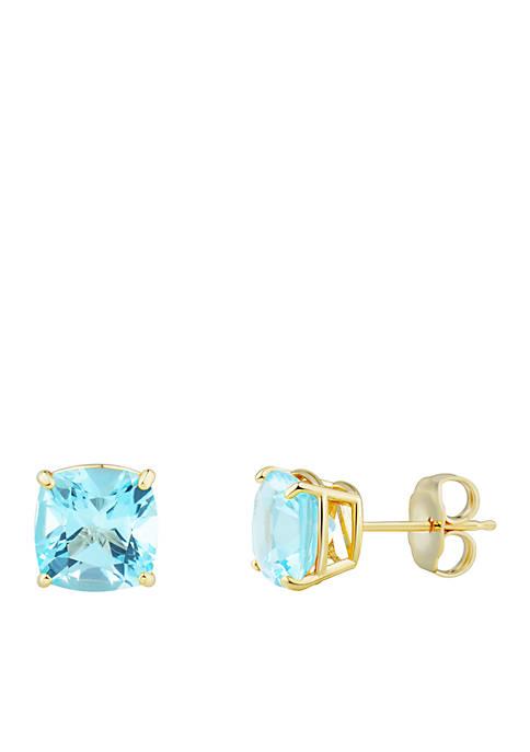Cushion London Blue Topaz Earrings in 10K Yellow Gold