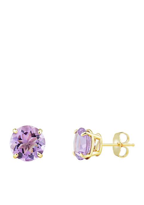8 mm Pink Amethyst Stud Earrings in 10k Yellow Gold