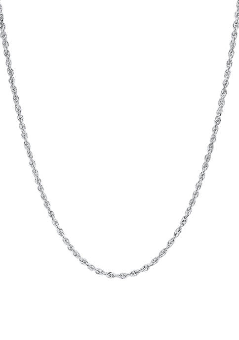 Solid Glitter Chain in 10K White Gold