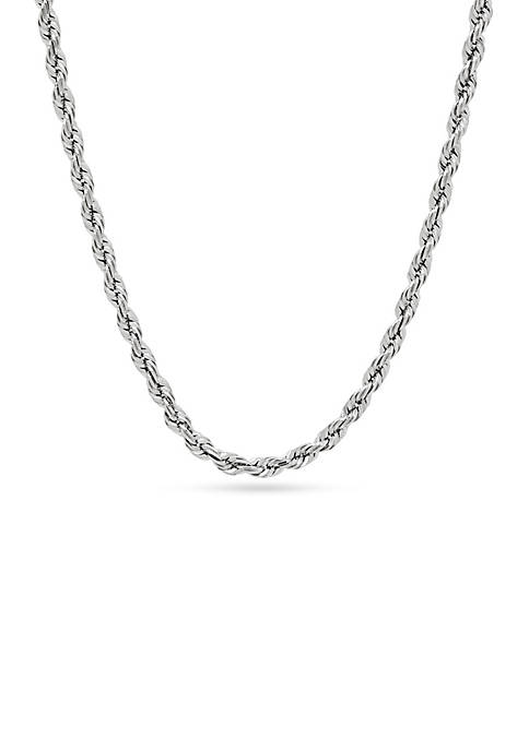 Sterling Silver Glitter Rope Necklace