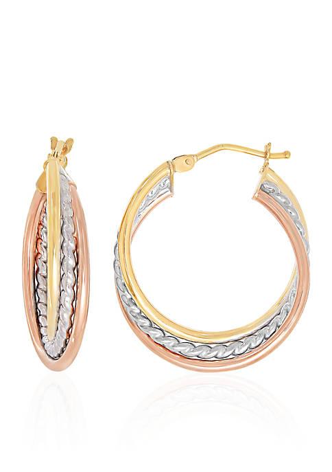 Twist Hoop Earrings in 10K Tri-Plated