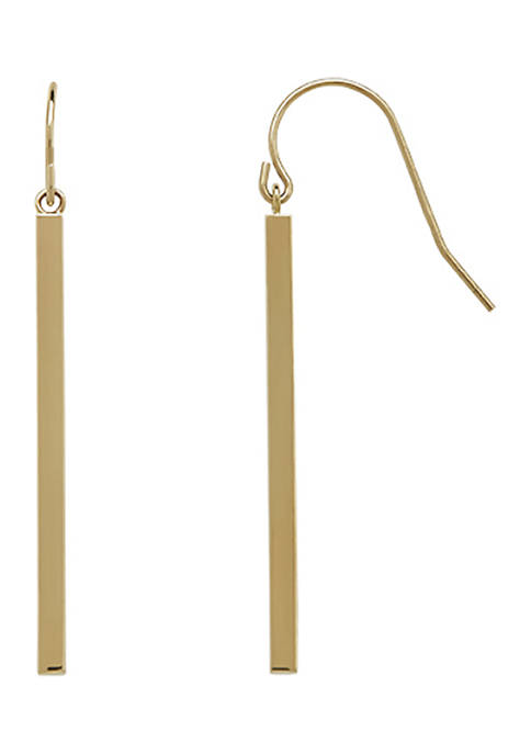 Square Tube Drop Earrings in 14K Yellow Gold