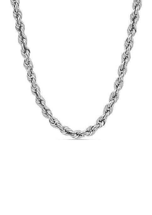 Sterling Silver 4-MM Glitter Rope Necklace