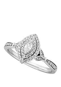 Belk & Co. 0.34 ct. t.w. Diamond Anniversary Ring in 10k White Gold