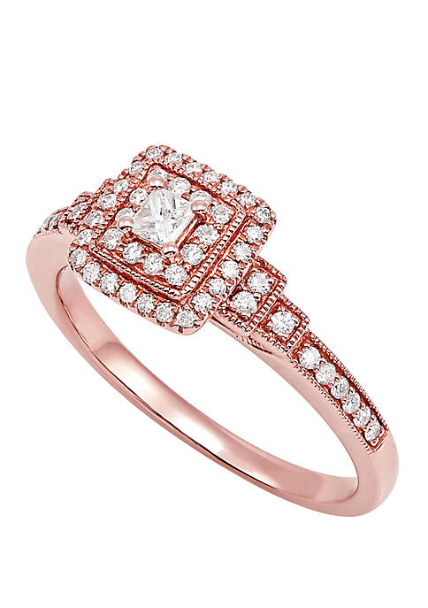 1/3 ct. t.w. Square Diamond Ring in 14k Rose Gold