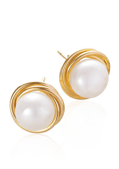 Belk & Co. Freshwater Pearl Love Knot Earrings