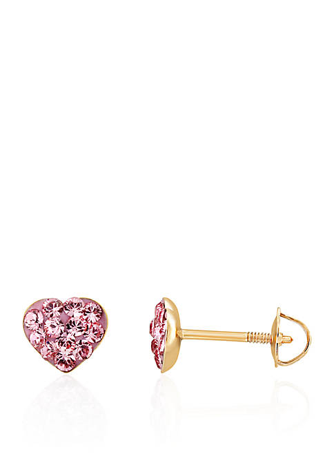 Belk & Co. Baby Heart Rose Crystal Earrings