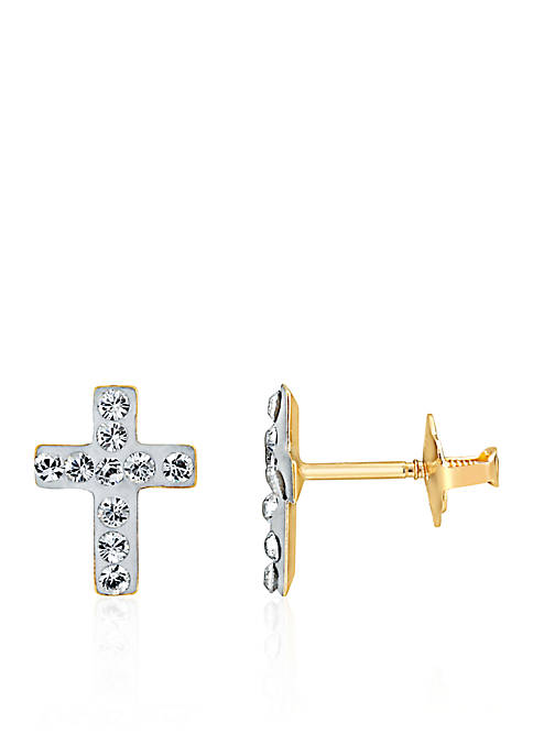 Belk & Co. Baby White Crystal Earrings in