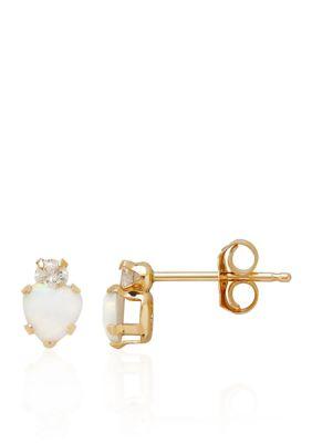 Belk Co. Girls Cubic Zirconia Created Opal Baby Stud Earrings In 14K Yellow Gold