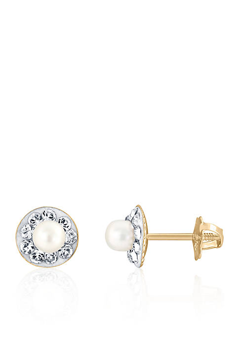 Belk & Co. Pearl and Crystal Baby Stud