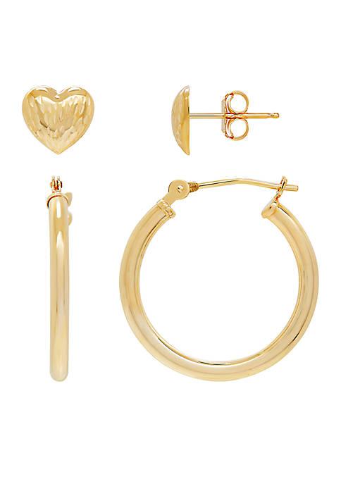 Belk & Co. Hoop and Heart Earrings Set