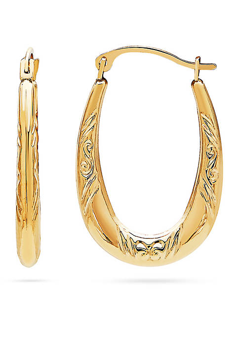 14k Yellow Gold Oval Pattern Hoop Earrings