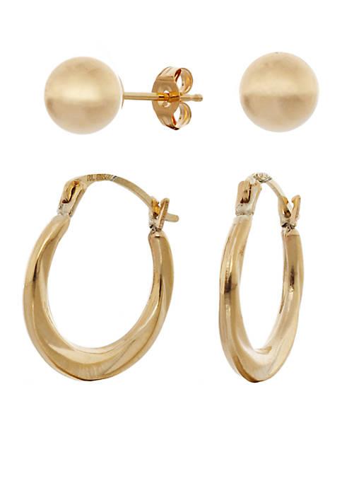 Belk & Co. Shrimp Hoop and Ball Earring