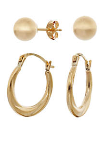 Shrimp Hoop and Ball Earring Set in 14K Yellow Gold