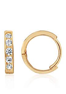 Cubic Zirconia Baby Hoop Earrings in 14K Yellow Gold